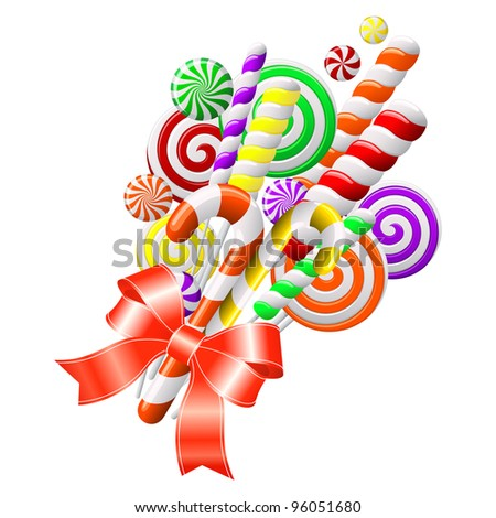 Bunch of colorful candies with red ribbon - stock vector