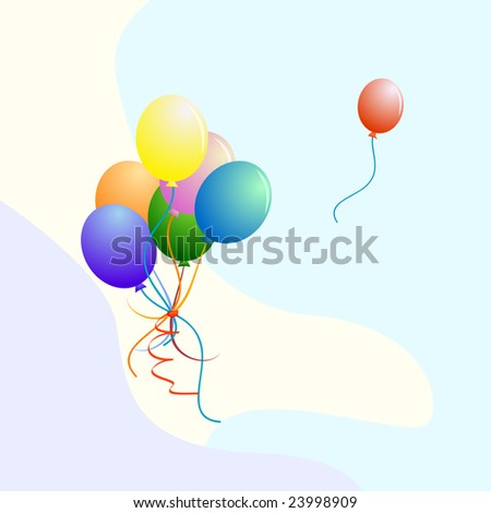 bunch of colorful party balloons (vector) - stock vector