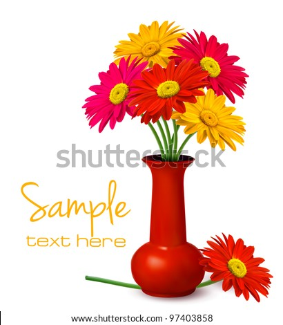 Bunch of flowers in a vase. Vector. - stock vector