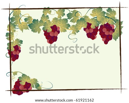 Bunch of grapes with leaves