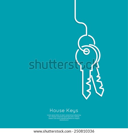 Bunch of keys on blue background. The concept of entry, wealth. minimal. Outline. - stock vector
