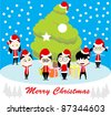 bunch of kids were celebrating Christmas with huge Christmas tree - stock vector