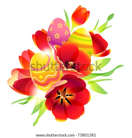 bunch of red tulips with easter eggs