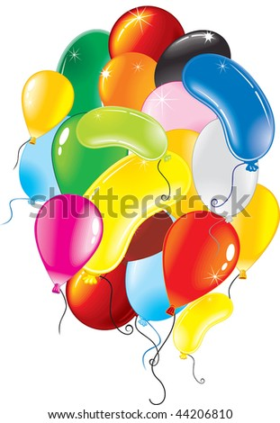 Bunch of vector colorful balloons - stock vector