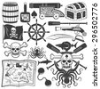 Bundle objects for design pirate logo, emblem with a skull, an anchor, shark, octopus, oars. Jolly Roger. - stock photo