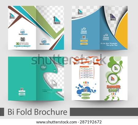 Bundle of Bi-Fold Mock up & Brochure Design - stock vector