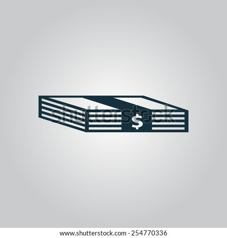 Bundle of Dollars. Flat web icon, sign or button isolated on grey background. Collection modern trend concept design style vector illustration symbol. EPS10 - stock vector