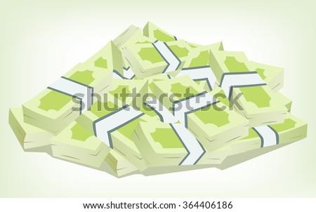 Bundle of money - stock vector