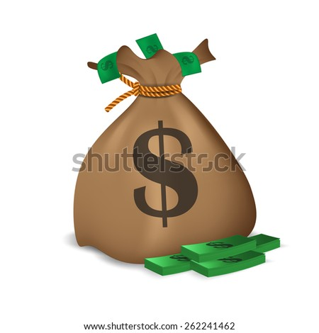 Bundle of money and money bag. Vector illustration - stock vector
