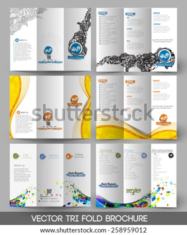 Bundle of Tri-fold Brochure Design Element, Vector Illustartion. - stock vector