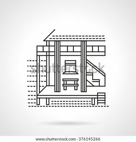 Bungalow house on a coast. Beach hotel. Tropical resort. Vector icon flat thin line style. Element for web design, business, mobile app.