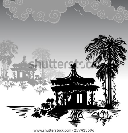 Bungalow under a palm tree near the water. Monochrome drawing. - stock vector