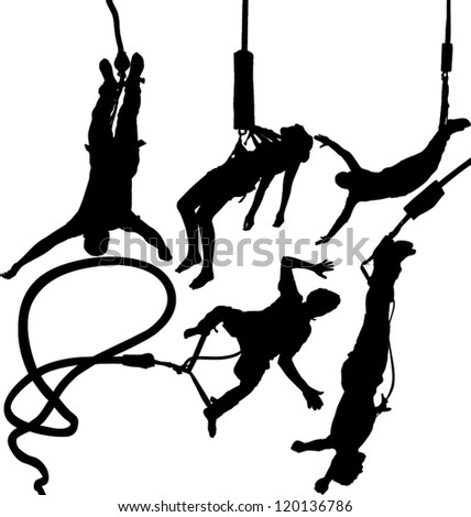 Bungee jumper vector silhouettes set. Layered. Fully editable - stock vector