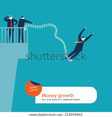 Bungee jumping from bridge. Vector illustration Eps10 file. Global colors. Text and Texture in separate layers. - stock vector