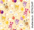 bunnies and bears cute seamless pattern - stock vector