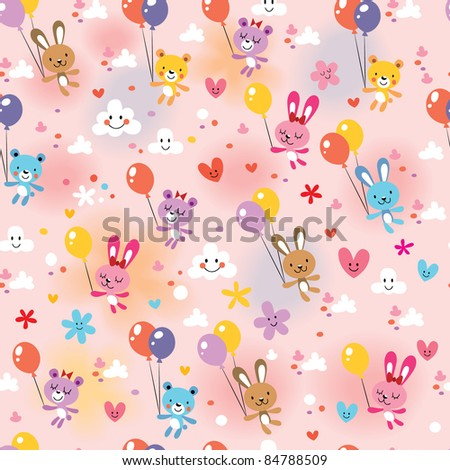 bunnies and bears pattern - stock vector