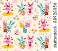 Bunnies & gifts pattern - stock vector
