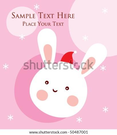 bunny christmas greeting - stock vector