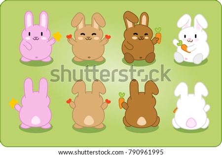 Bunny collection in different colors with stars, hearts and carrots, front and back view (kawaii characters)