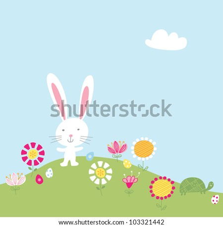 Bunny Hill Vector Illustration - stock vector