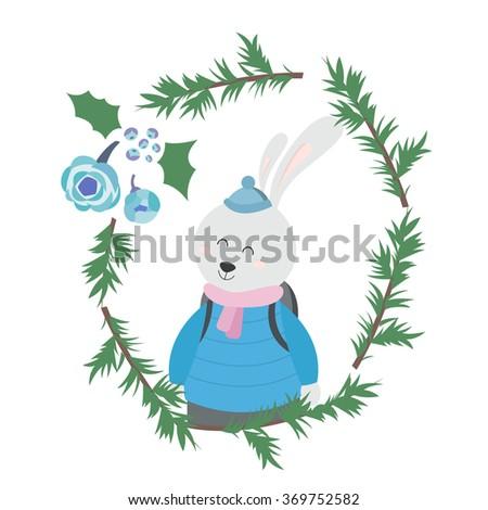 Bunny in Winter Clothes - stock vector