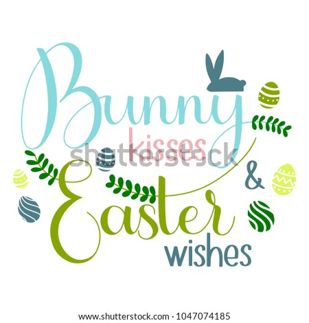 Bunny kisses easter wishes lettering happy stock vector royalty bunny kisses and easter wishes lettering happy easter colorful lettering hand written easter phrases m4hsunfo