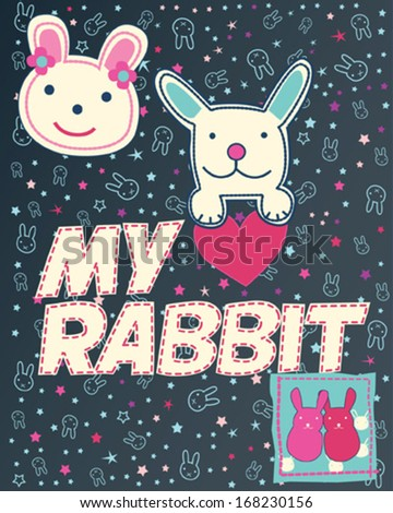 Bunny love, happy sweet bunnies patches and applications. bunnies pattern background. - stock vector
