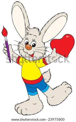 Bunny painter - stock vector