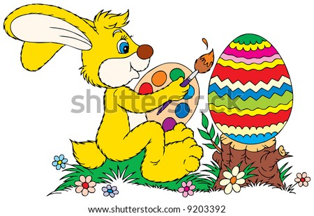bunny painting a big Easter egg