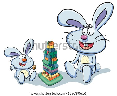 Bunny Playing Puzzle - stock vector