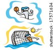 Bunny water polo. Great for t-shirt designs, mascot logos and other designs. Vinyl-ready. - stock vector