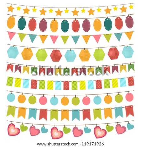 bunting and garland - stock vector