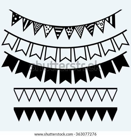Bunting and garland. Isolated on blue background. Vector silhouettes