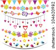 bunting and garland set - stock photo