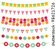 Bunting and garland vector set. Pattern brushes added to EPS file - stock vector