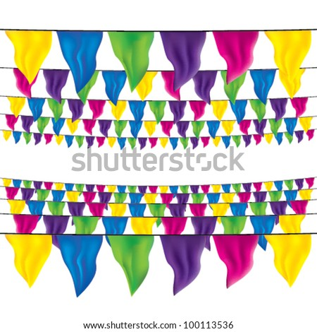 bunting flags set, top view and bottom view - stock vector