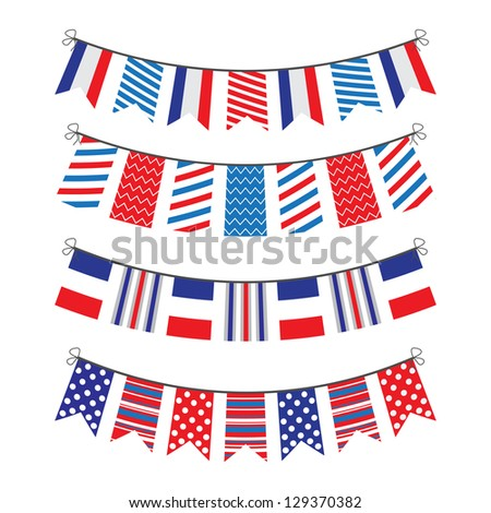 bunting of flags and symbols of France - stock vector