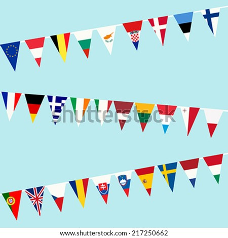 Bunting of flags from European Union - stock vector