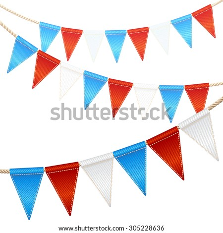 Bunting party flags garlands isolated on white background - stock vector