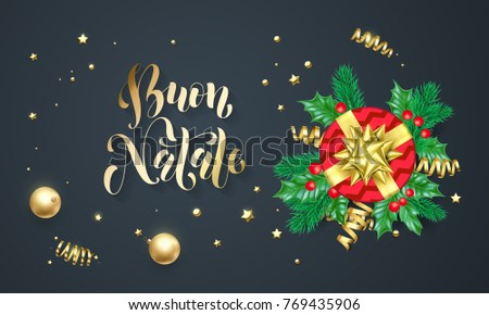 Buon Natale Italian Merry Christmas holiday golden calligraphy and gold decoration greeting card template. Vector Christmas tree holly wreath decoration confetti on black premium background design