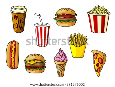 Burger and cheeseburger with vegetables, french fries, pizza, takeaway popcorn bucket and paper cups of coffee and soda, strawberry ice cream cone. Fast food objects for cafe or restaurant menu design