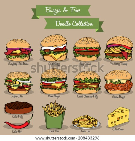 Burger and fries doodle set collection for restaurant menu - stock vector