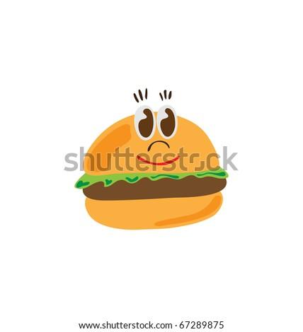 burger character - stock vector
