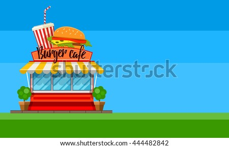 Burger fast food cafe store flyer or banner design shop-window facade hamburger and cola drink sign front view flat vector illustration - stock vector