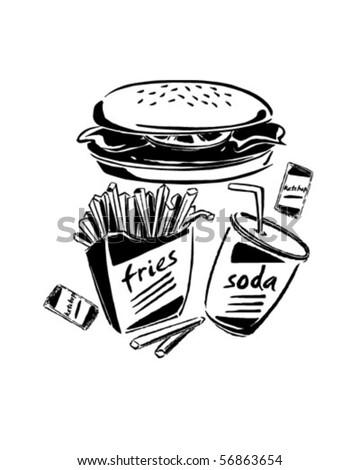 Burger, Fries & Soda - Retro Clip Art - stock vector