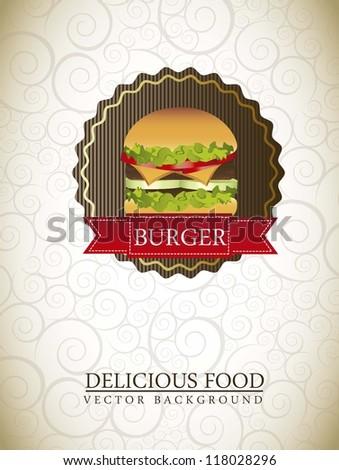 burger label over ornament background. vector illustration - stock vector