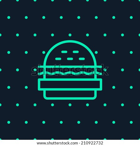 Burger logo, with bread, salad, ketchup, cutlet. Unusual color. Outline style. Burger, with dots seamless pattern on background. Design elements. Easy to edit. Vector illustration - EPS10. - stock vector