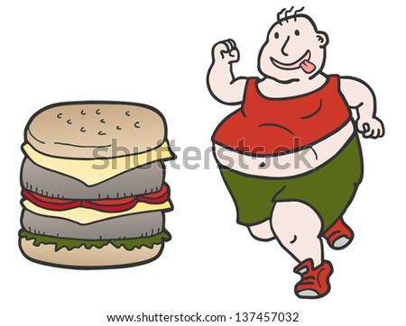 Burger man - stock vector