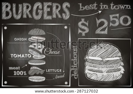 Burger Menu Poster on Chalkboard. Hamburger Ingredients. Big Burger. Vector Illustration. - stock vector