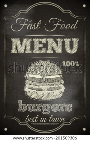 Burger Menu Poster on Chalkboard. Vector Illustration. - stock vector